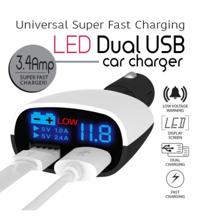 Universal Super Fast Charging 3.4A LED Dual USB Car Charger